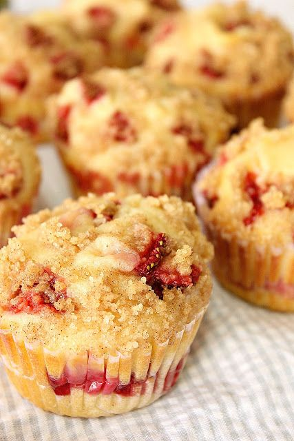 Food Wanderings in Asia: Strawberry Cheesecake Muffins {Breakfast is Served} with raspberries instead?