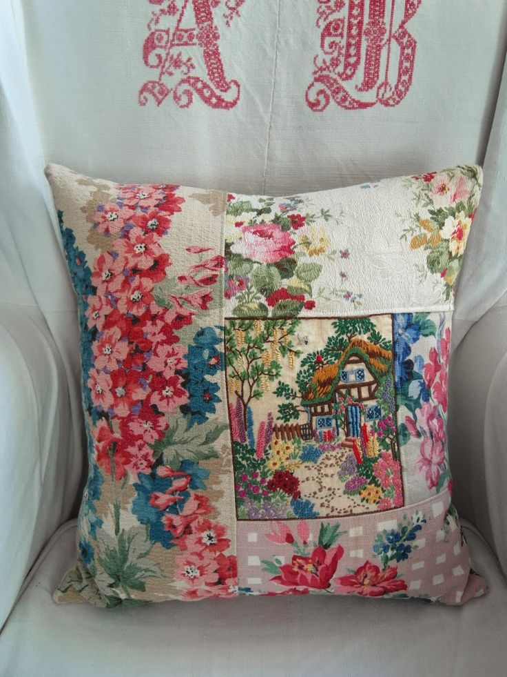 Cottage cushion from vintage textiles.  Maybe Andi/Charlie.  Lori?