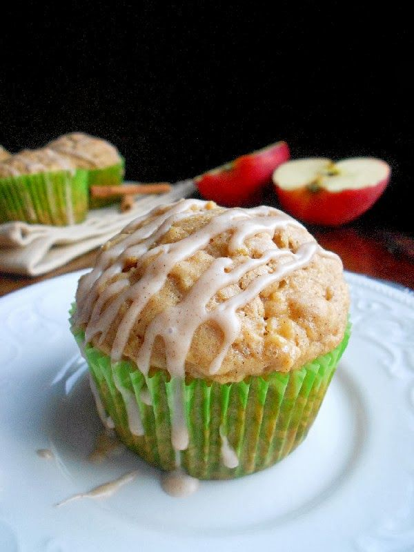Apple Peanut Butter Muffins with Cinnamon Glaze