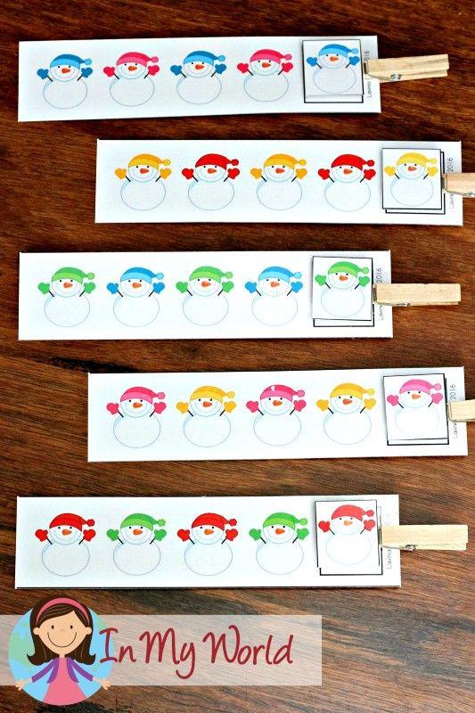 FREE Winter Preschool Center Activities: Snowman patterns activity (AB)