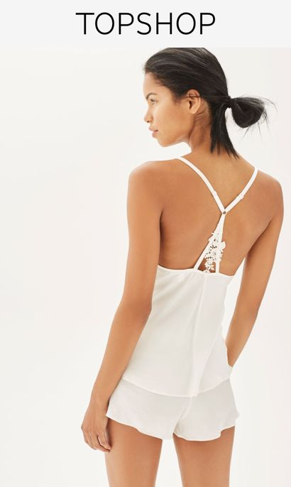 La Boheme Camisole Set by TOPSHOP BRIDE  - Have a luxurious sleep in this satin-feel bridal camisole set. Featuring gorgeous lace and floral applique detailing, both the top and shorts are finished with subtle frills at the hem.
