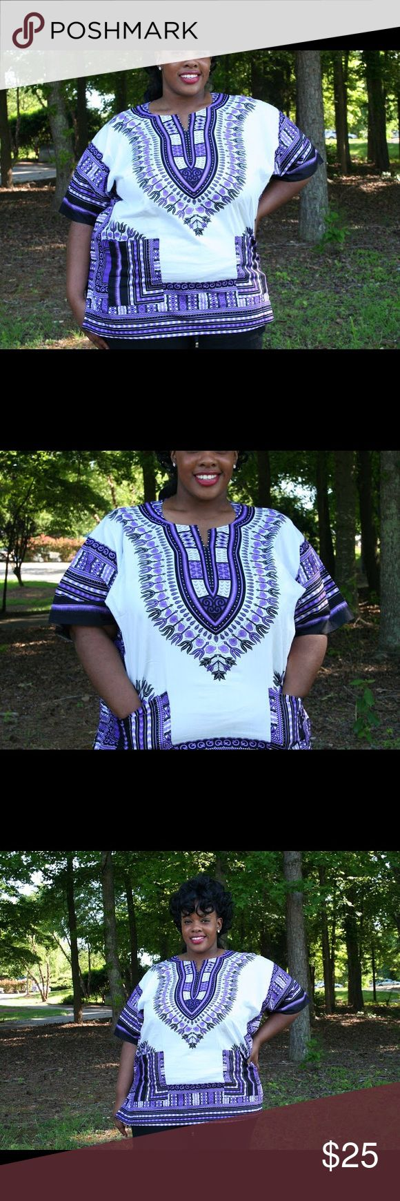 Plus Size Dashiki Dress New Unisex Black and green Dashiki shirt. This shirt is available in 1X, 2X and 3X.   Features 2 front pockets and 2 side slits for style and comfort. It is made with 100% cotton.   This Dashiki Shirt is available in Orange, Green, Purple, Yellow and Blue. Tops Blouses