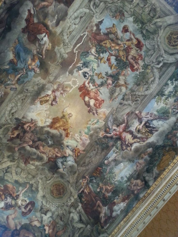 decorazione del soffitto di uno dei saloni di Palazzo Barberini, Roma ארמון ברבריני, רומא http://www.otzarmilim.com/omanut-beitalia.html