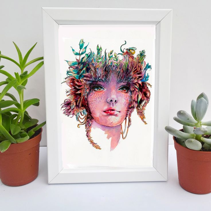 A mini print of Gaea, an ink an watercolour painting of the Greek goddess, hand-painted by Hannah Rose Shaw.