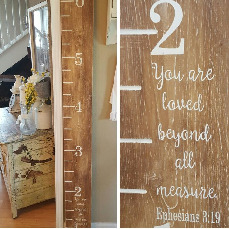 Growth Chart Ruler [with verse] Handmade, routered lines and painted Precious keepsake!