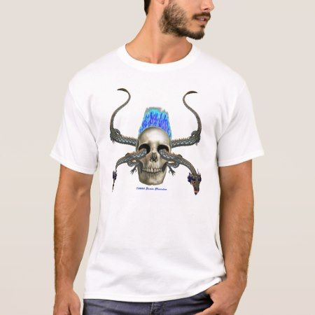 Eastern Dragon Skull Equal Blue Flame Large Star T-Shirt - click to get yours right now!