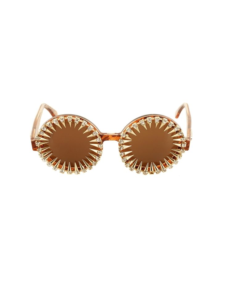 A-MORIR RICKY GOLD SUNGLASSES Sunglasses round frame decorated with crystals and spikes hand carved acetate frame UV400 premium Italian lens thin hand applied metal spikes with Swarovski rhinestones hand made