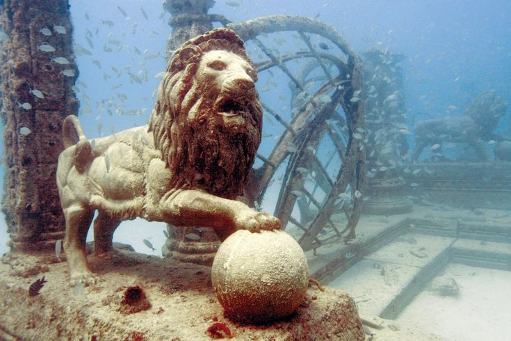 Neptune Memorial, Key Biscayne, Florida At this Florida cemetery, located a few miles east of Miami, you'll need scuba gear to pay your respects to the dead. This beautiful underwater memorial and living reef, founded in 2007 by the Neptune Society, is modeled after the mythic city of Atlantis. New cremains, Atlas Obscura notes, can be mixed with cement and sand, poured into a shell- or starfish-shaped mold, and added to the reef.
