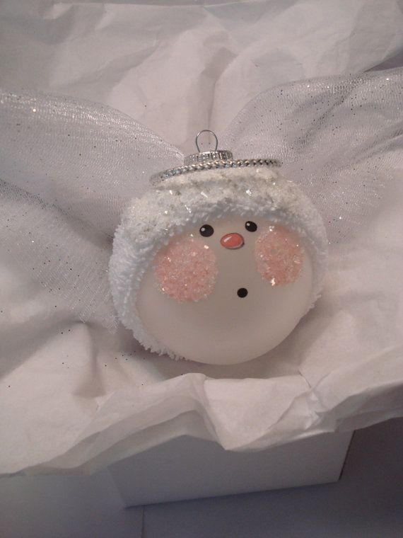 White Wings Angel Christmas Ornament Tree Bulb Hand Painted Glass Personalized