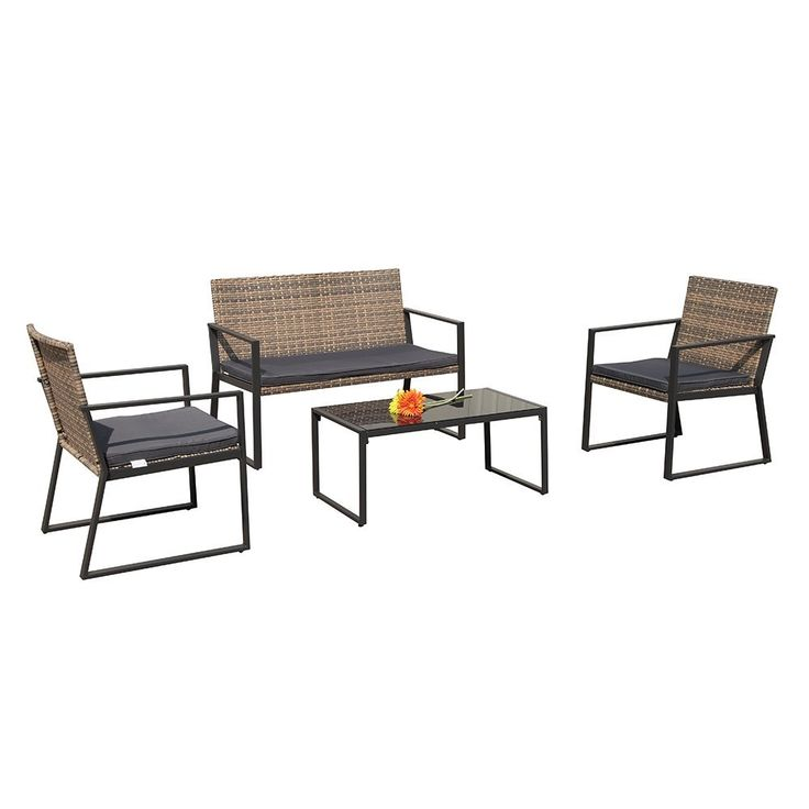 Trend Amazon PATIOROMA Pieces Rattan Conversation Set Patio Table and Chairs with Seat