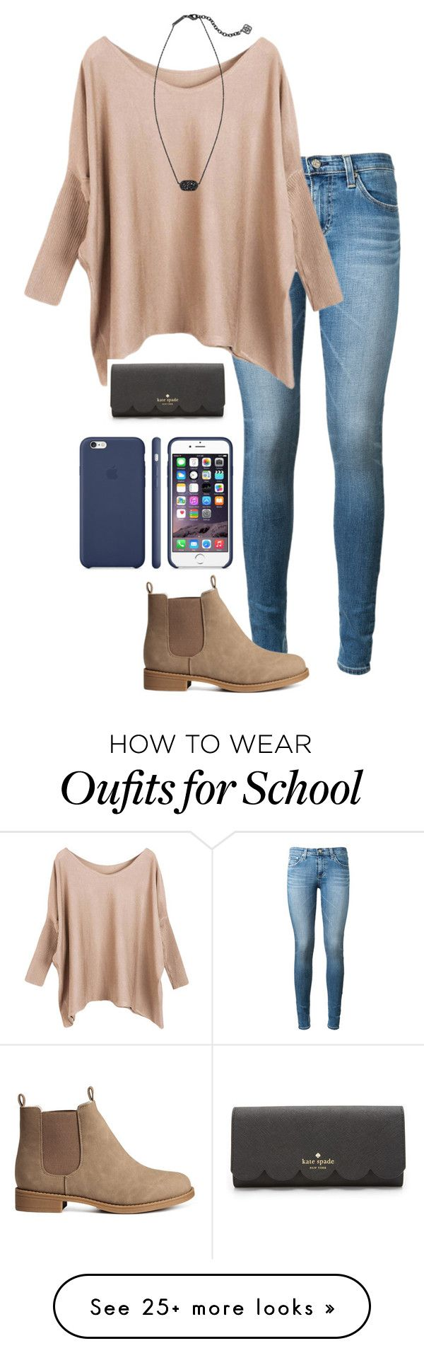 """I might have to start riding the bus to school "" by madelyn-abigail on Polyvore featuring AG Adriano Goldschmied, H&M, Kendra Scott, Kate Spade, women's clothing, women, female, woman, misses and juniors"