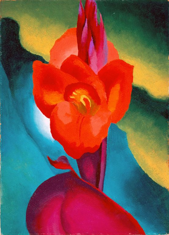 """Red Canna"" by Georgia O'Keeffe. 1919, oil on board. In the collection of The High Museum of Art, Atlanta, GA."