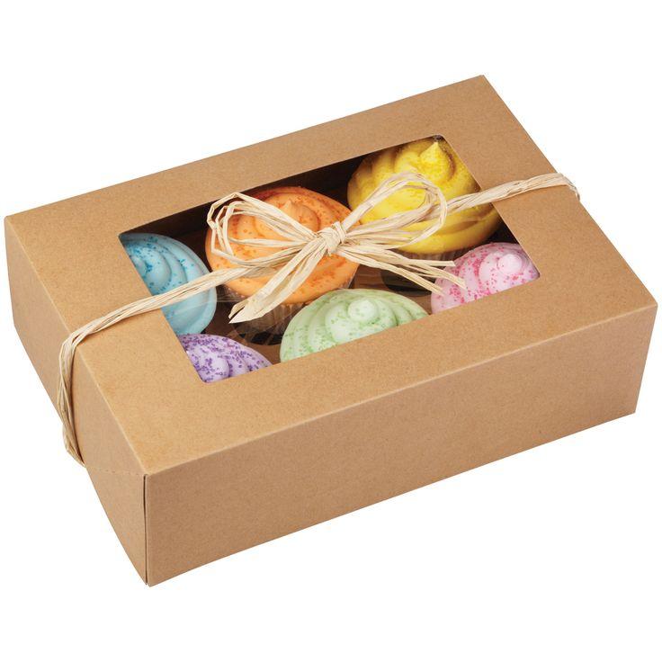 Cupcake boxes 6 cavity kraft 2 pkg 3x96x65 cupcake