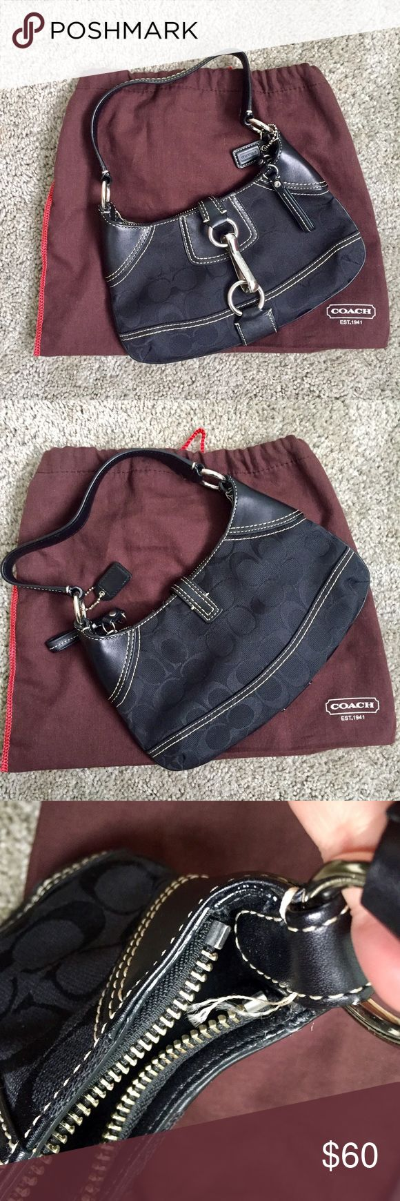 Coach Shoulder Bag w/ Clip Lock In EUC with only some frayed stiching depicted in photo. Has a zipper closure and clip lock. Comes with original dust bag. Purchased from Coach store about 8 years ago so I don't recall the model name. 🚫No trade Coach Bags