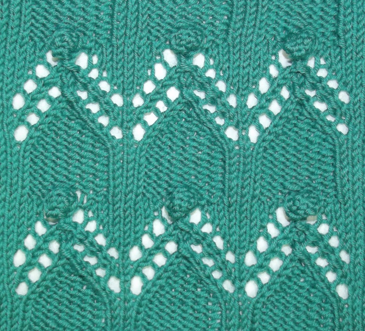 The Cloisters combines easy lace, highlighted by bobbles.  Find it in the Bobble & Slip Stitches category.