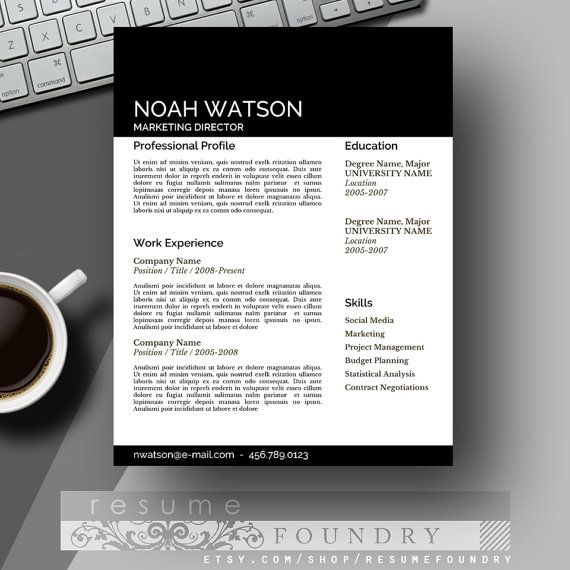 masculine resume template and cover letter for word mac or pc the noah - Professional Creative Resume