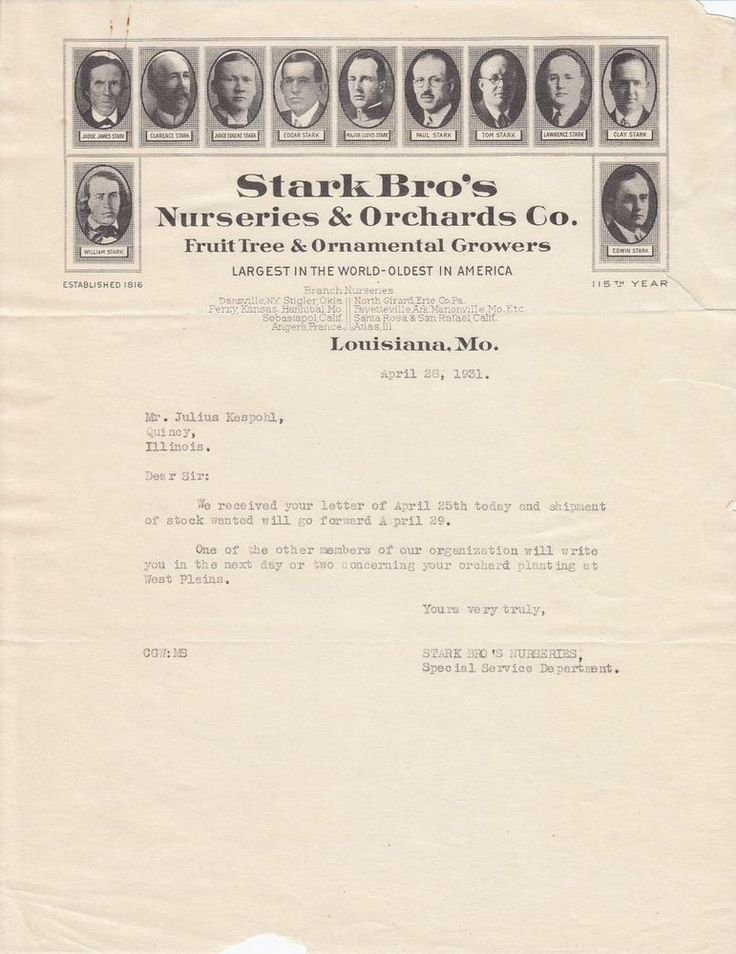 1931 Stark Brother's Nurseries & Orchards Co Louisiana MO Business Letter