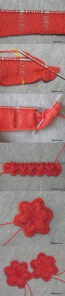 russian - knit flower -Вяжем  спицами.