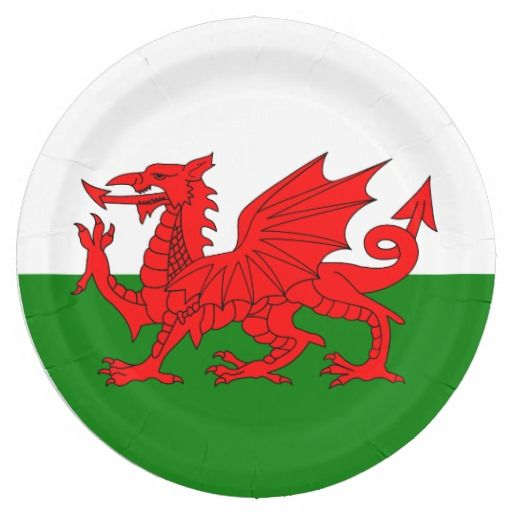 Wales flag paper plates
