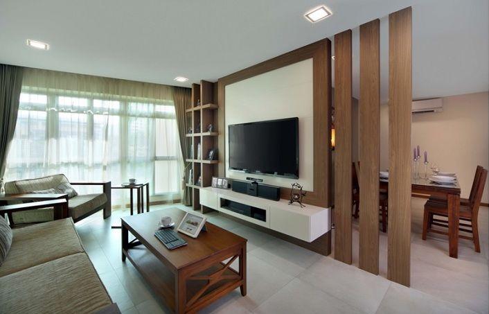 Tv wandpaneel aus Holz als raumteiler