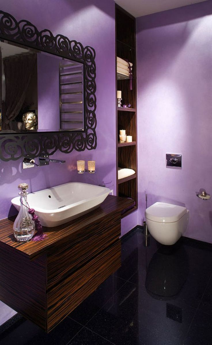 Purple and brown bathroom ideas - Bathroom Attractive Apartment Bathroom Decor Idea With Gorgeous Lavender Color Small Apartment Bathroom Design With Vessel Sink On Wooden Wall Shelf And