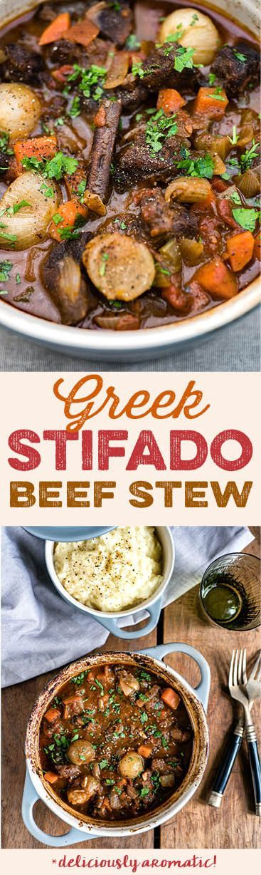 A traditional Greek recipe, Stifado beef stew is cooked low and slow until the meat is meltingly tender. Deliciously aromatic!