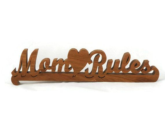 Wood Mom Rules Word-art And Heart Decor Shelf Sitter Handmade #bmecountdown