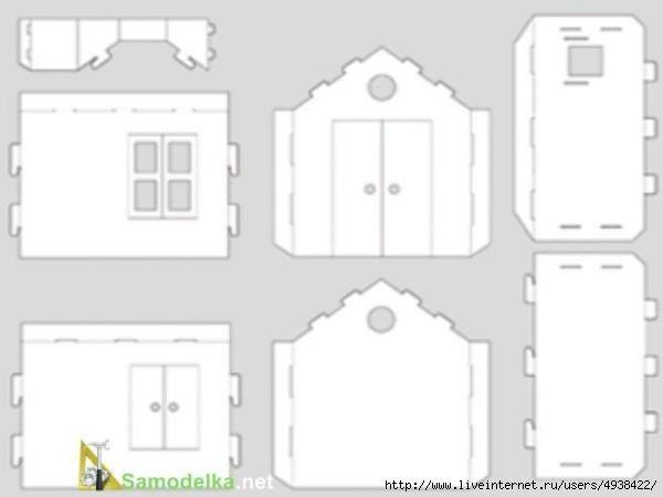 Ideas para el hogar: Molde para realizar casa de muñecas de cartón