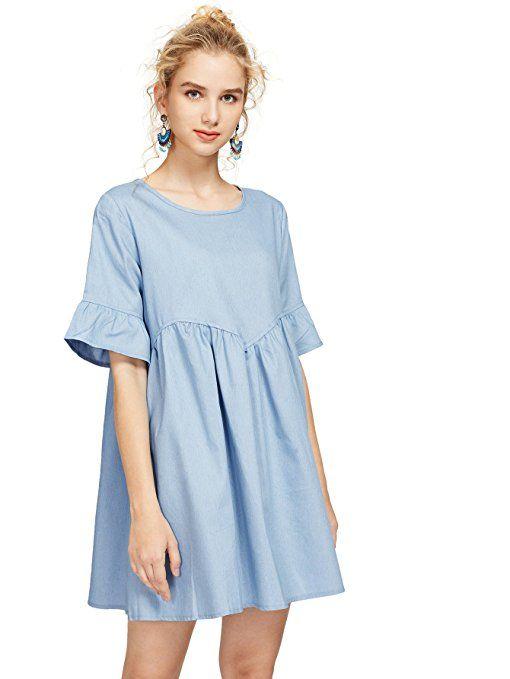 fdc6aca9775e MakeMeChic Women s Loose Plain Bell Short Sleeve A-line Babydoll Dress    Blue L