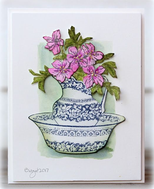 I love this stamp from Serendipity Stamps,  it´s so beautiful and realistic!    Gives me nostalgic feelings!   Pitcher and Basin   I also u...