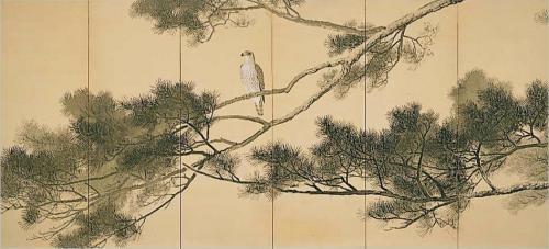 老松蒼鷹1928・川合 玉堂(カワイ ギョクドウ) 【1873年 - 1957年】 老松蒼鷹 Old Pine Tree with a Hawk