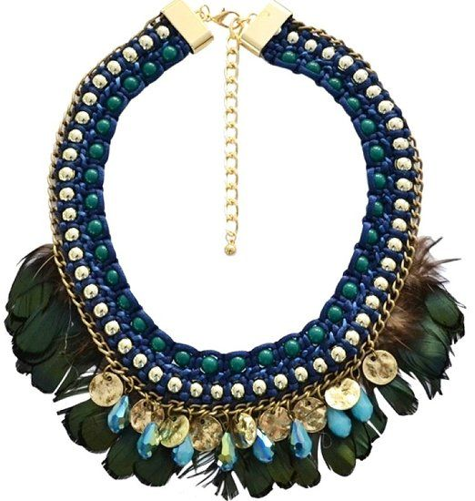 https://www.goedkopesieraden.net/Ibiza-ketting-in-het-blauw-met-gouden-munten-en-groene-veren