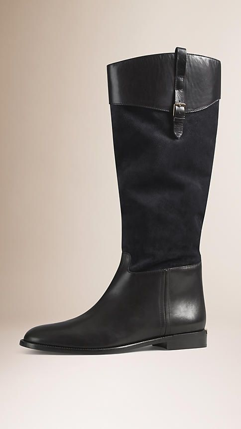 Dark pewter blue Leather and Embossed Check Suede Riding Boots - Image 1