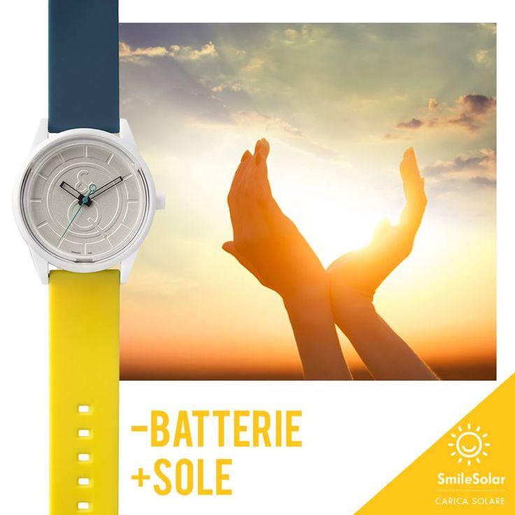 Le batterie? Sono solo un ricordo! Con SmileSolar è il sole a ricaricare il tuo orologio: una rivoluzione che mette il sorriso a tutti.