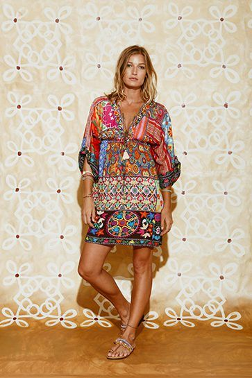 Ruby Yaya | Globetrotter Spring 2017 Printed short silk dress in bold colours. #Bohemian #tribal #prints & patterns #party dress #beachstyle #relaxed