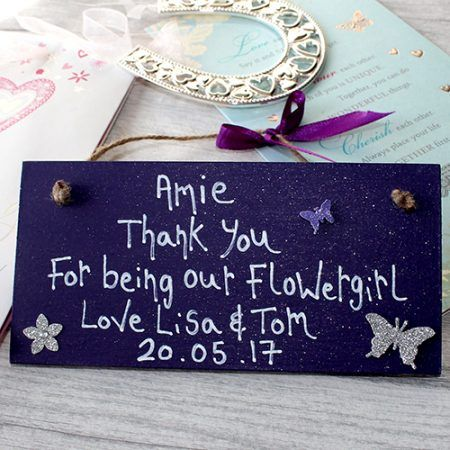 Purple wedding Thank you feature 2 - Wedding gift ideas your flowergirls will love. Personalised with their name and the date of your wedding. Lovely gift from the bride and groom to be.