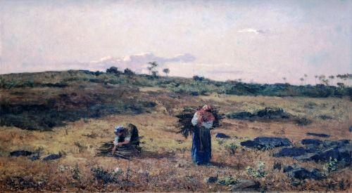 Paisagem tirada da Charneca de Belas ao pôr-do-sol by António Carvalho de Silva Porto, 1879.