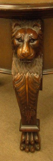 EXTRAORDINARY HAND CARVED ANTIQUE TABLE W LION LEGS