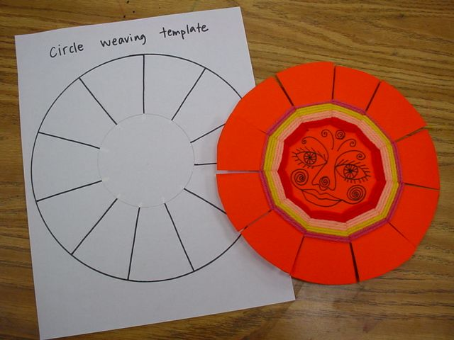 """A template is very helpful for making your loom correctly, with an odd number of slits. I made the outer circle 8"""", so the pattern would fit on a standard copy sheet. The inner circle is about 3 1/4""""."""