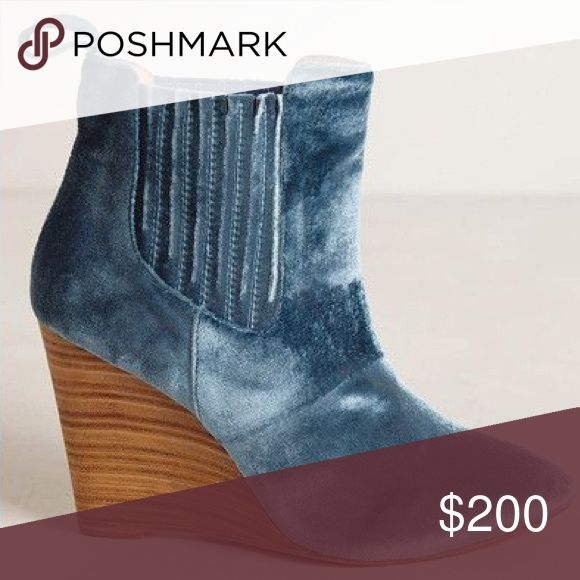 Blue Velvet Wedge Ankle Boot Blue Velvet Wedge Ankle Boot. NO TRADES Anthropologie Shoes Ankle Boots & Booties