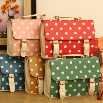(FL007561) Polka Dot Korean 2012 Handbag New Arrival Contrast Color Retro Handbag Hand Carry Messenger Polka Dot Mailman Handbag