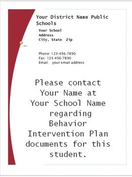 Cum Folder Note Customizable End of Year PBIS Behavior SIT General Education
