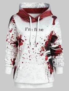 Plus Size Blood Hoodies Sweatshirts Women I'M FINE Letter Print Jacket – u... 11