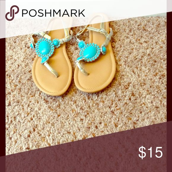 Turquoise sandals BCBG Beautiful turquoise sandals with silver straps! BCBGeneration Shoes Sandals