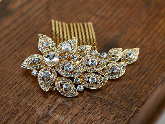 Gold Art Deco Crystal Bridal Haircomb Vintage by GildedShadows