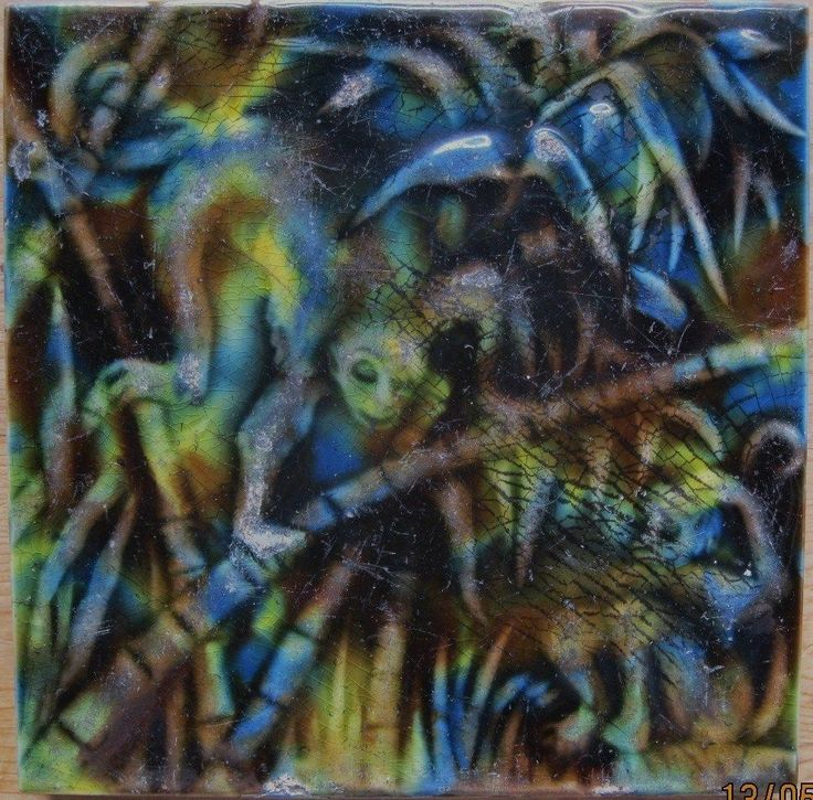 William Godwin Rare Majolica Antique Tile, Monkeys in The Jungle