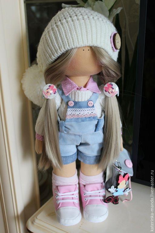Купить Интерьерные куклы - голубой, розовый, Джинсовая ткань, трикотаж