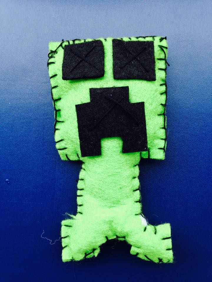 Creepers from Minecraft made with felt by Joanne's PaperCreations.
