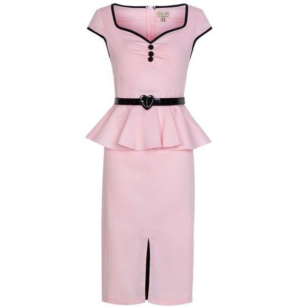 'Henrietta' Pink Wiggle Dress ($26) ❤ liked on Polyvore featuring dresses, pink, button dress, pink wiggle dress, peplum pencil dress, peplum dress and pink peplum dress