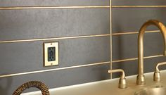 Gold grout! Can work in bathroom or kitchen subway tiles.